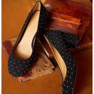 Sezane Helena Black Studded Block Heel Shoes